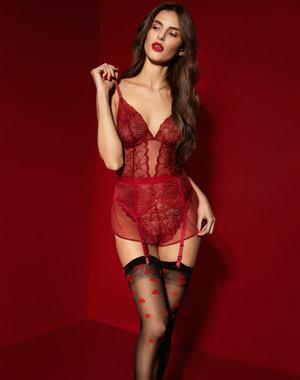 Fiore Stockings met rode hartjes