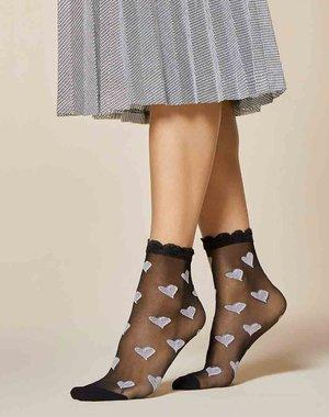 Fiore Zwarte sokken met hartjes
