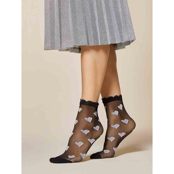 Fiore Zwarte sokken met hartjes - Fiore