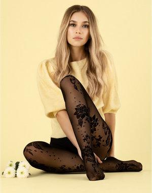 Fiore Zwarte panty met bloemenprint - 30 denier
