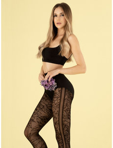 Fiore Zwarte panty met bloemenpatroon - 30 denier