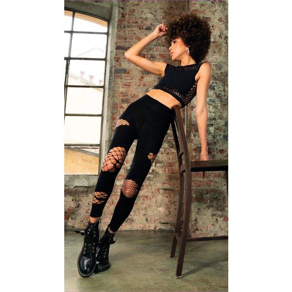 Trasparenze Stoere zwarte legging van 80 denier