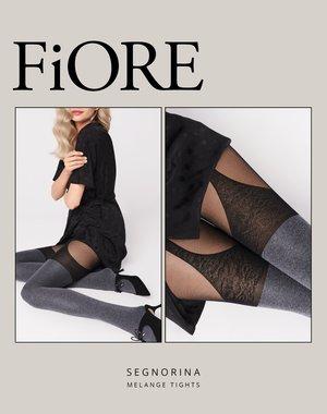 Fiore Gemêleerde panty met hold-up imitatie - 40 den