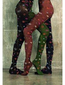 Trasparenze Gekleurde panty met bloemen - 80 denier