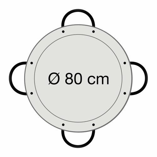 Paella world Paellapan, gepolijst staal, Ø 80 cm, met 4 grepen
