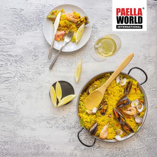 Paella world Paellapan, gepolijst staal, Ø 100 cm, met 4 grepen