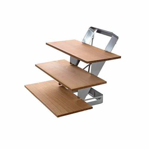 ALL' GRILL Rookplank 3-tree trap RVS, inklapbaar inclusief cederhouten planken