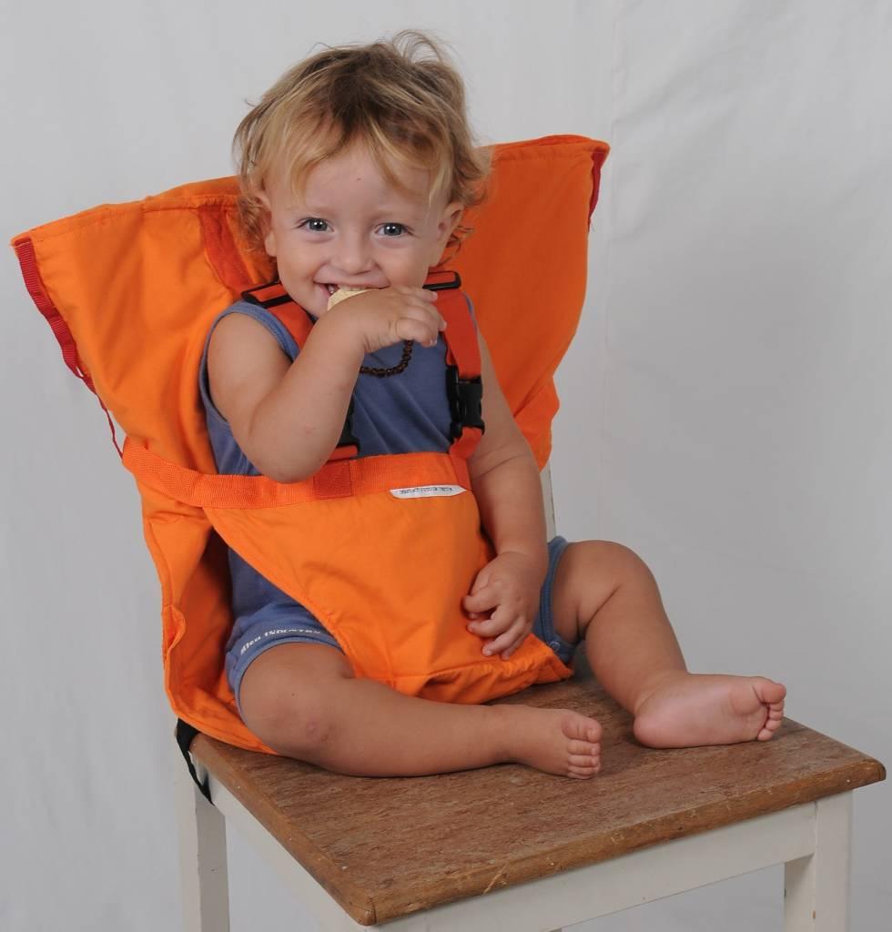 Opvouwbare Reis Kinderstoel.Sack N Seat Oranje Gratis Verzending Kidz Impulz