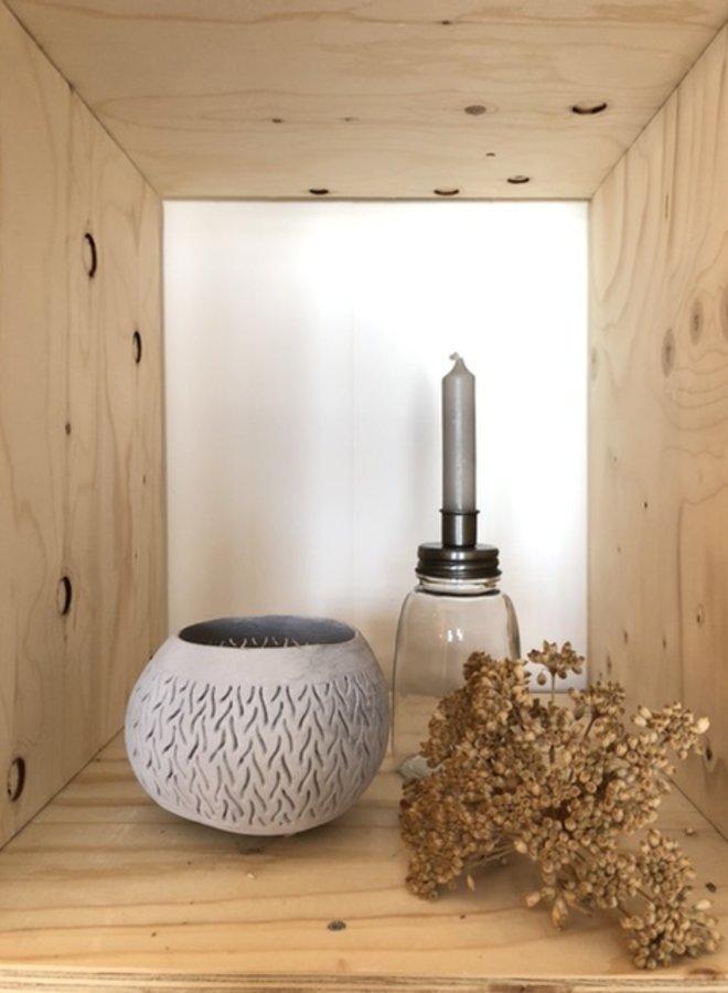 Windlicht Kokosnoot Wit
