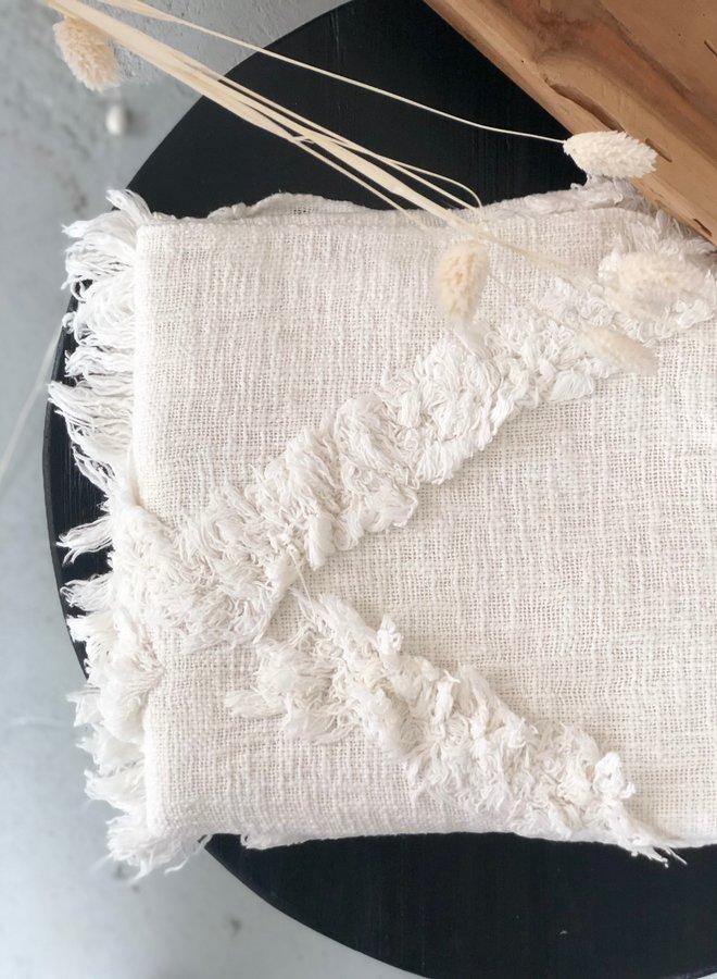 Plaid Fringe White 125x150 cm
