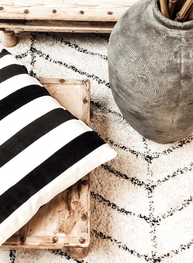 Kussen Gestreept Velvet Zwart Wit 50x50 cm