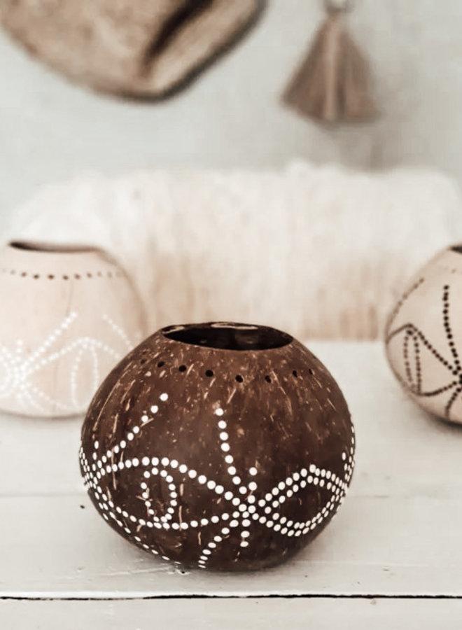 Kokosnoot Windlicht Bruin Wit