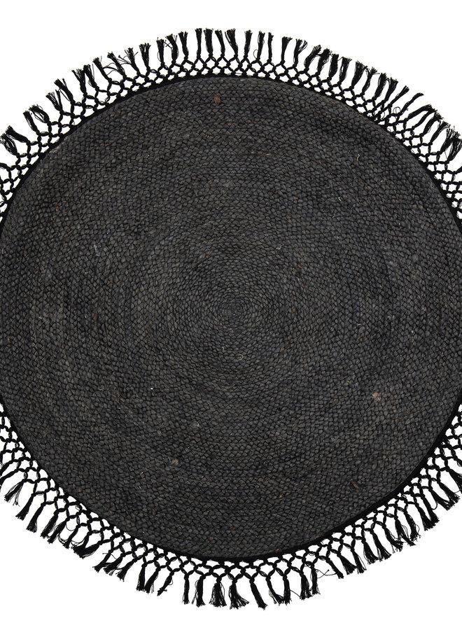 Vloerkleed Rond Jute Zwart 122 cm