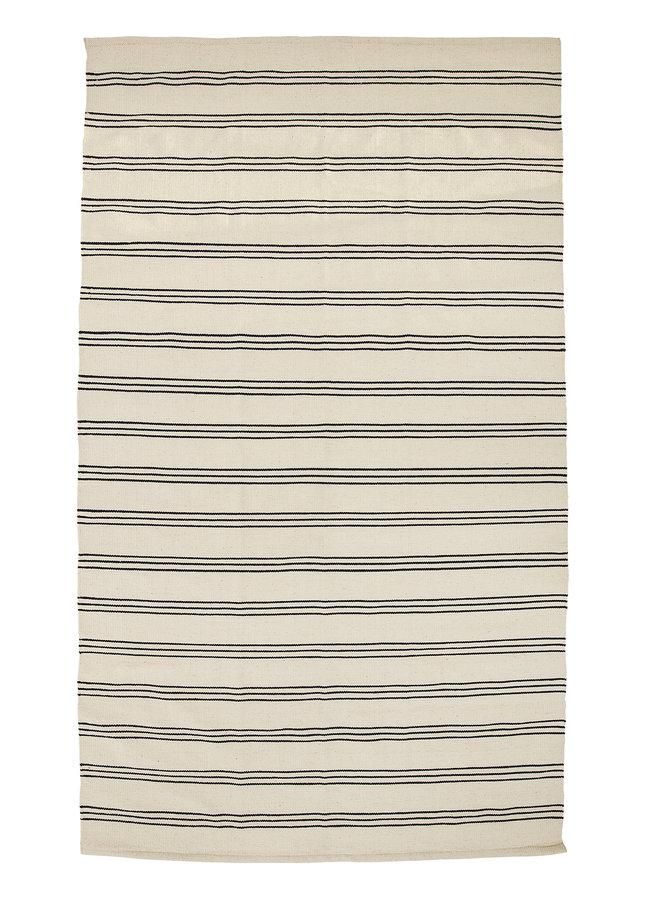 Vloerkleed Katoen Ecru Zwart Gestreept 240x140 cm