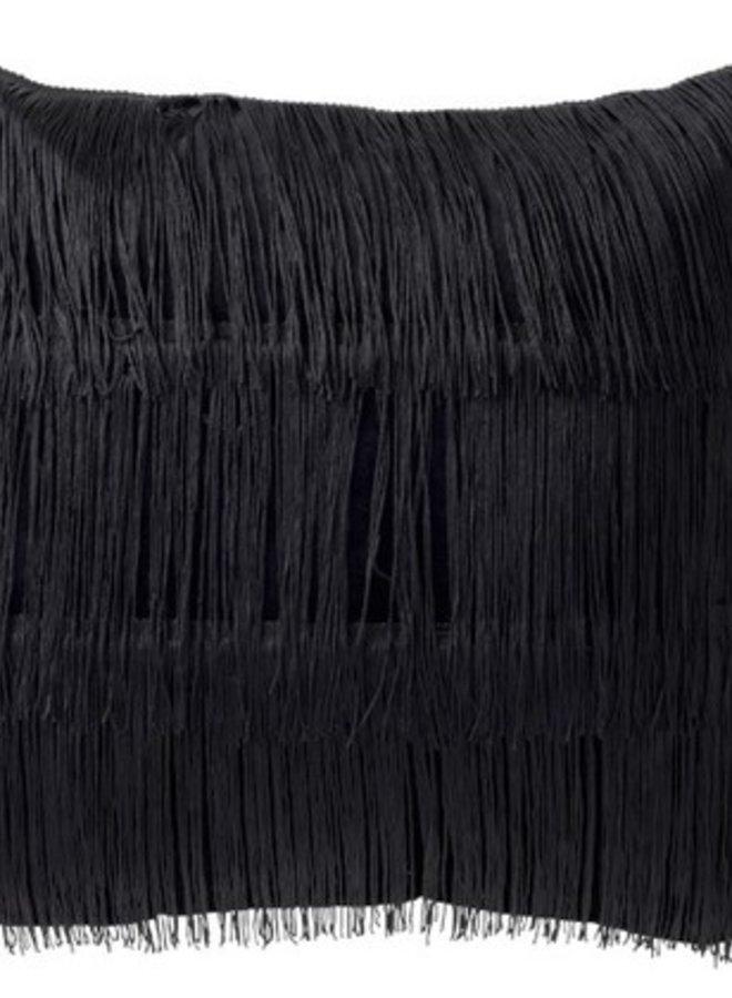 Kussen Fringes Zwart Velvet 45x45 cm