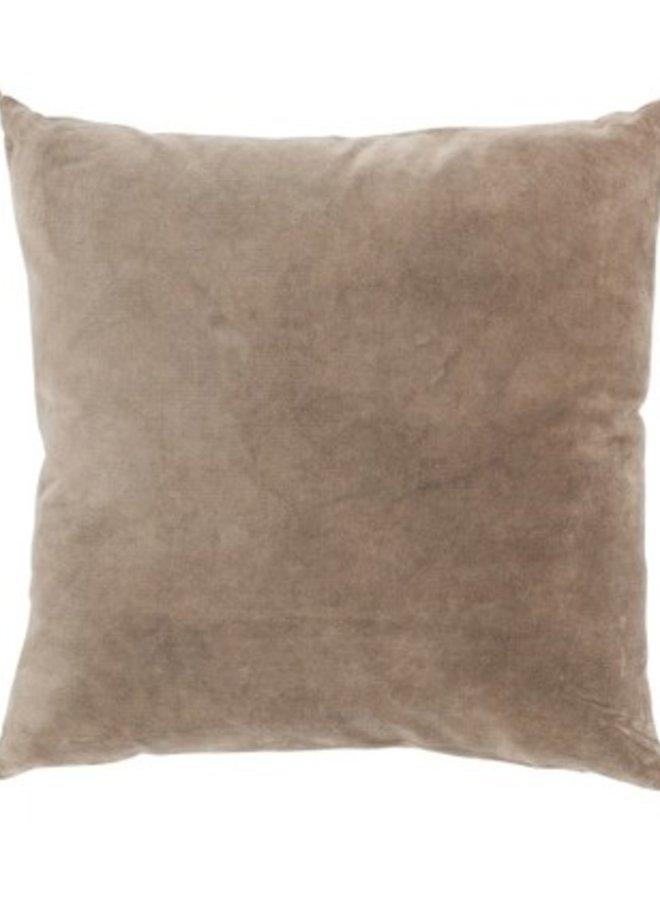 Kussen Kwast Katoen Velvet Bruin 45x45 cm