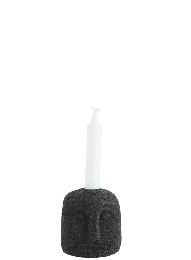 Kaarshouder Stoneware Face Zwart 9x11 cm