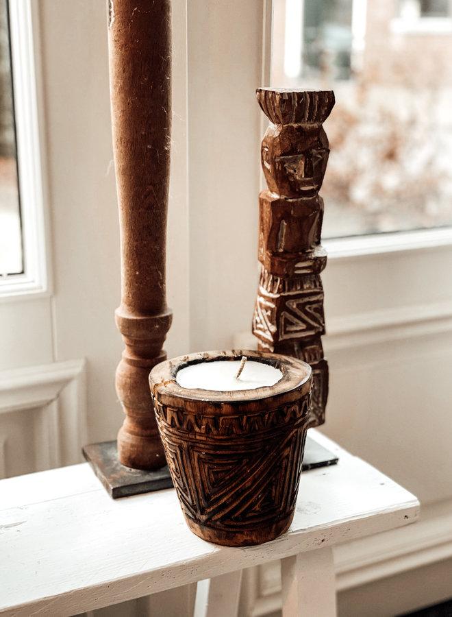 Kaars Palmhout Carved Donker13 cm