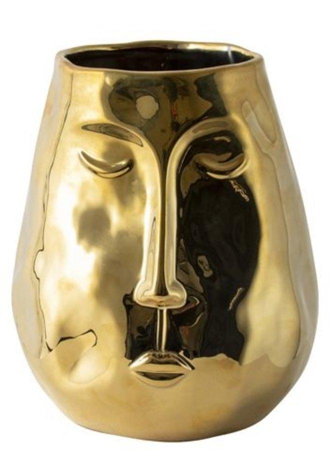 Vaas met Gezicht Goud 19,5 cm