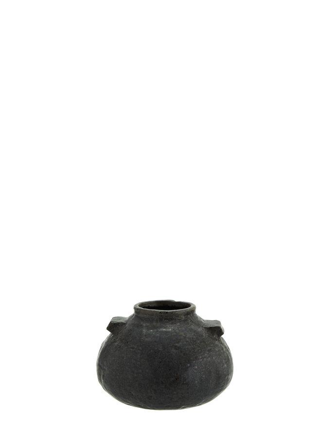 Vaasje Zwart Steen 16 cm