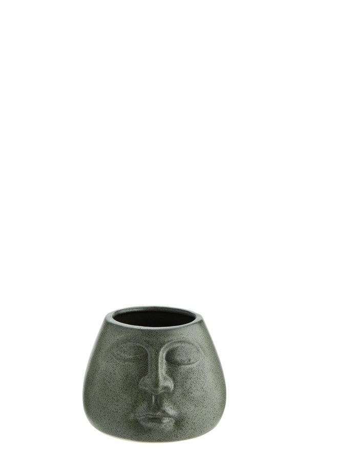 Pot Keramiek Groen Face 10,5 cm