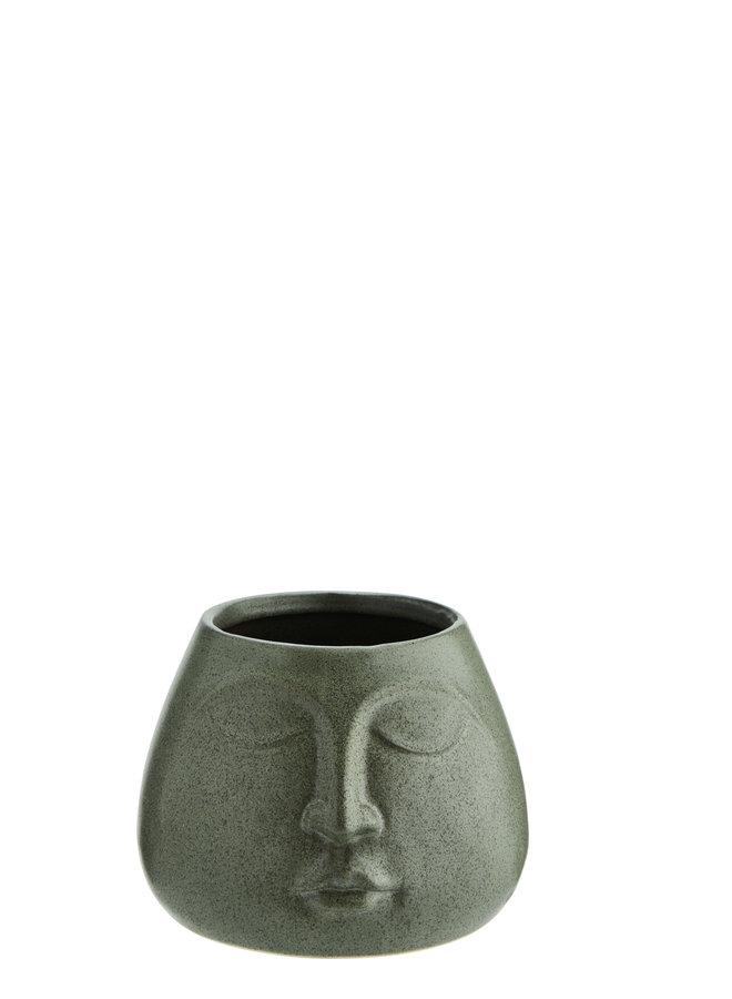 Pot Keramiek Groen Face 13,5 cm