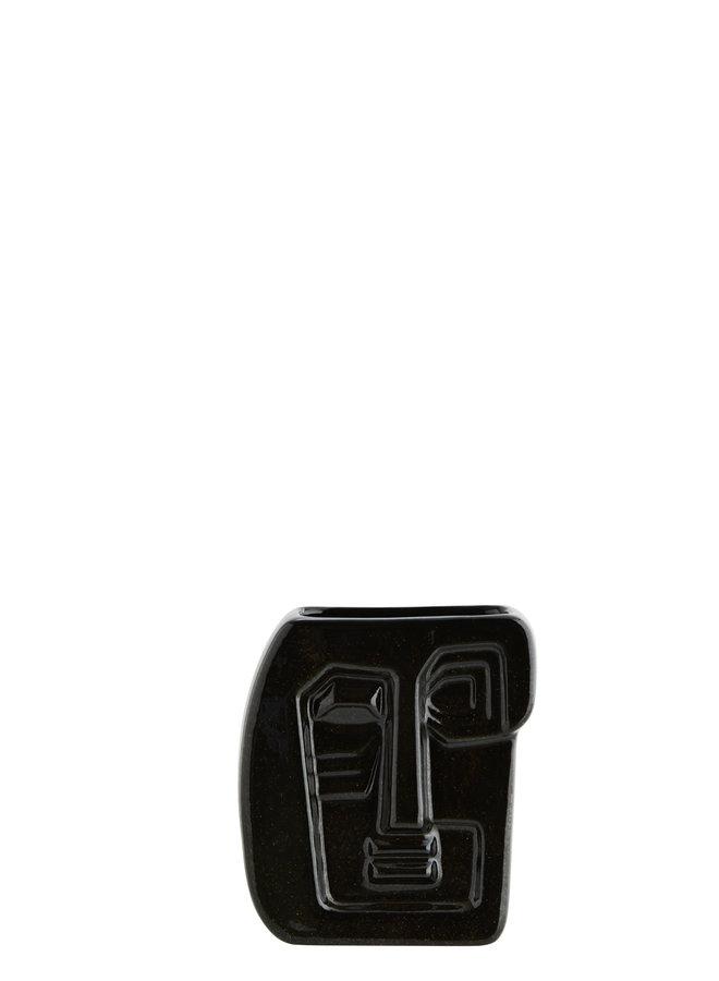 Vaas met Gezicht Zwart 16 cm