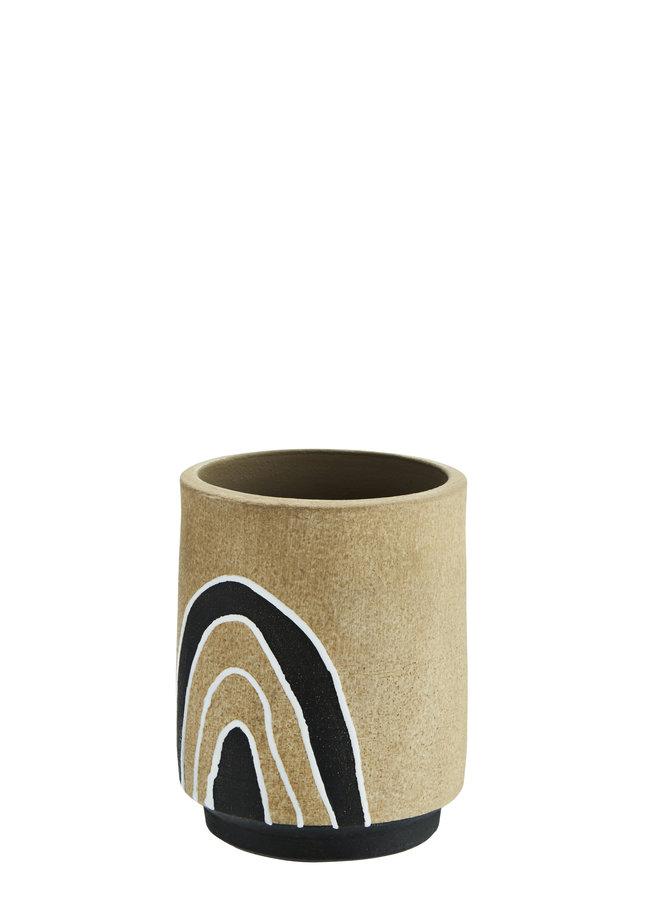 Pot Terracotta Natural Black White 13 cm