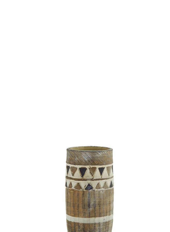 Vaasje Terracotta Bruin Zwart Ivory 21 cm