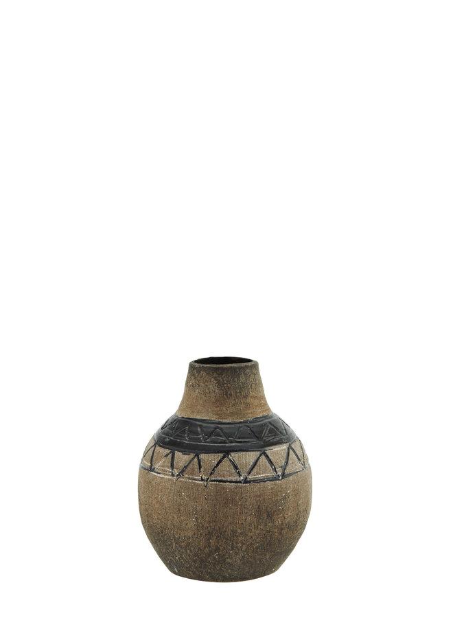Vaasje Terracotta Bruin Zwart 12,5 cm