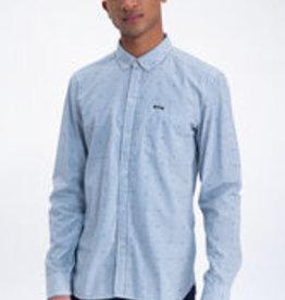 Garcia Blauw gestreept overhemd met allover print