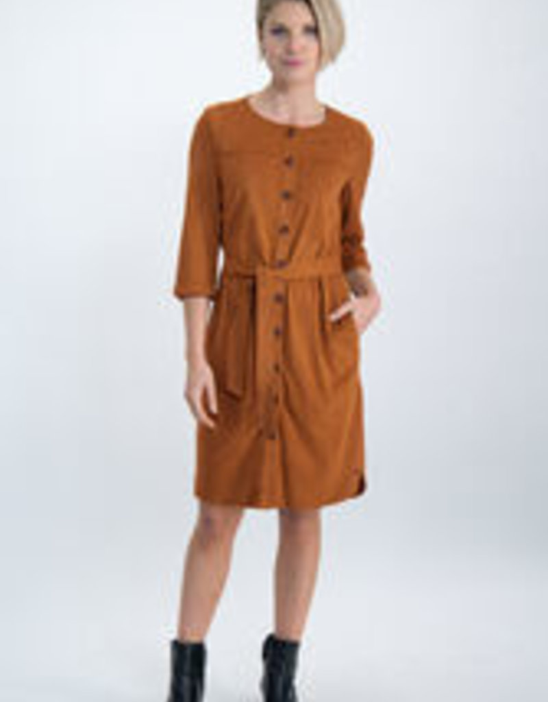Garcia Bruine suedine jurk