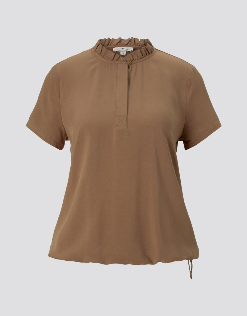 Tom Tailor BUTTONED T-SHIRT WITH RUFFLE DETAILS