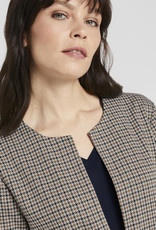 Tom Tailor COLLARLESS LONG BLAZER IN A CHECK PATTERN