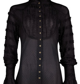 Isla Ibiza Lace Blouse Ruffled Black