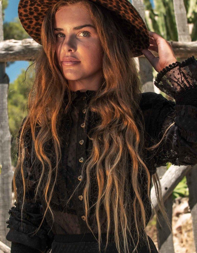 Isla Ibiza Lace Blouse Ruffled Black