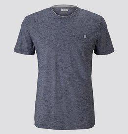 Tom Tailor Fijn gestreept T-shirt met borstzak (blauw)