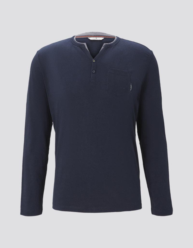 Tom Tailor Henley shirt met lange mouwen (blauw)