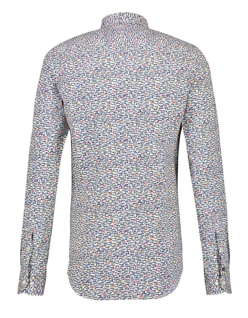 Lerros Lerros overhemd motief geel/wit