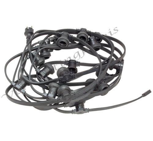 Complete kabel van 25meter met 25 fittingen zonder LED lampen - met contrastekker