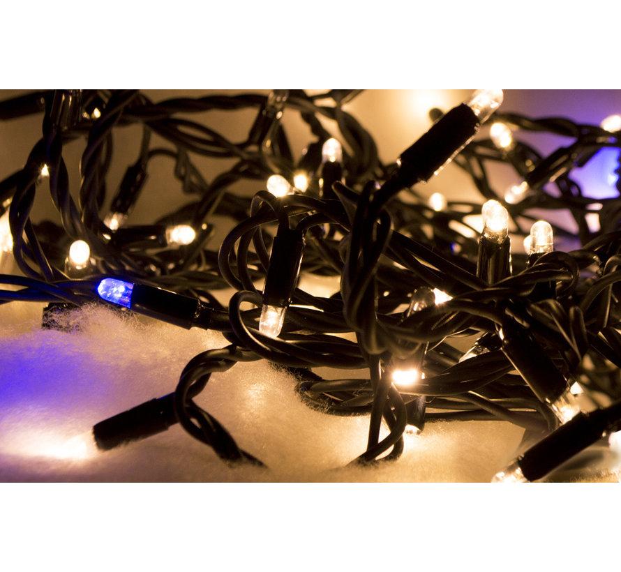 Kerstverlichting: 10 meter - 100 lampen - Warm wit met fonkel zonder aansluitsnoer
