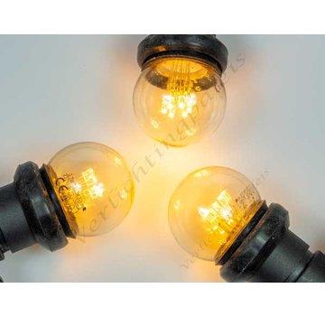 Amlux Zwarte prikkabel met zeer warm  witte LED lampen op stokjes