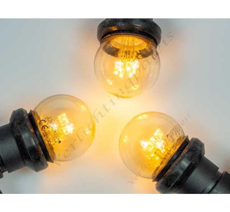 Zwarte prikkabel met zeer warm witte LED lampen op stokjes