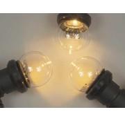 Amlux prikkabel set  met warm  witte LED lampen - transparante kap