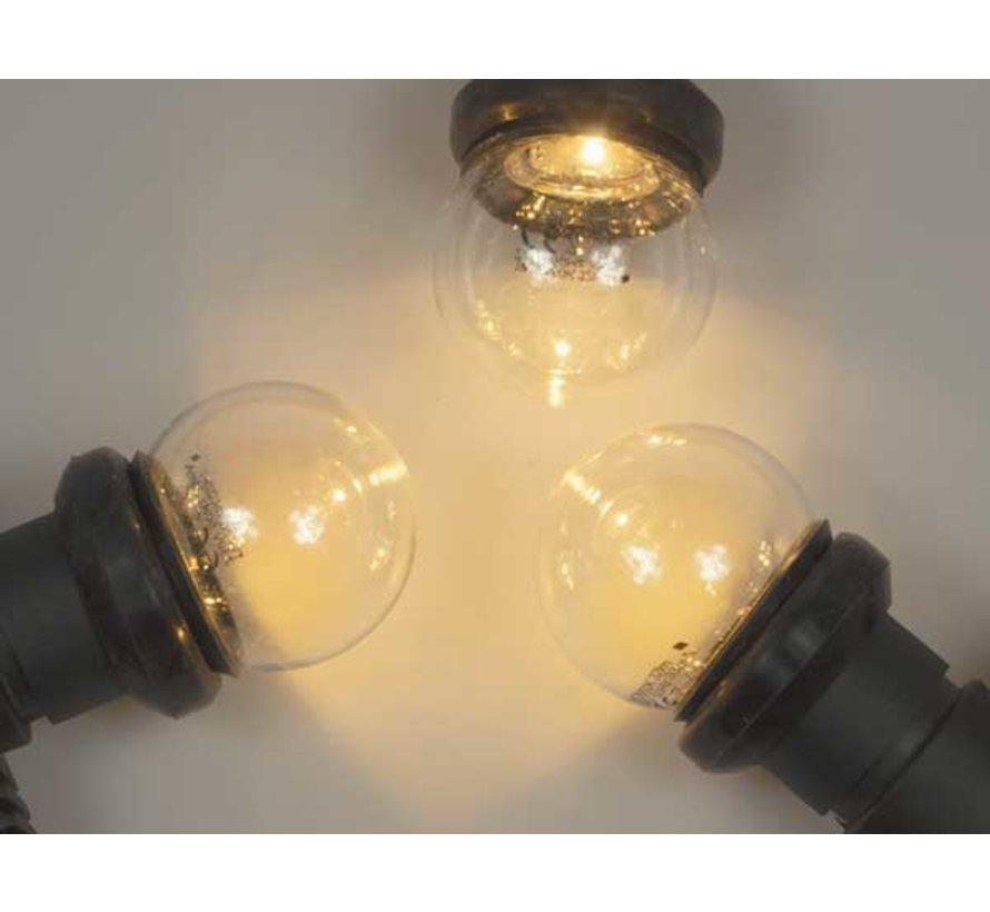 prikkabel set  met warm  witte LED lampen - transparante kap
