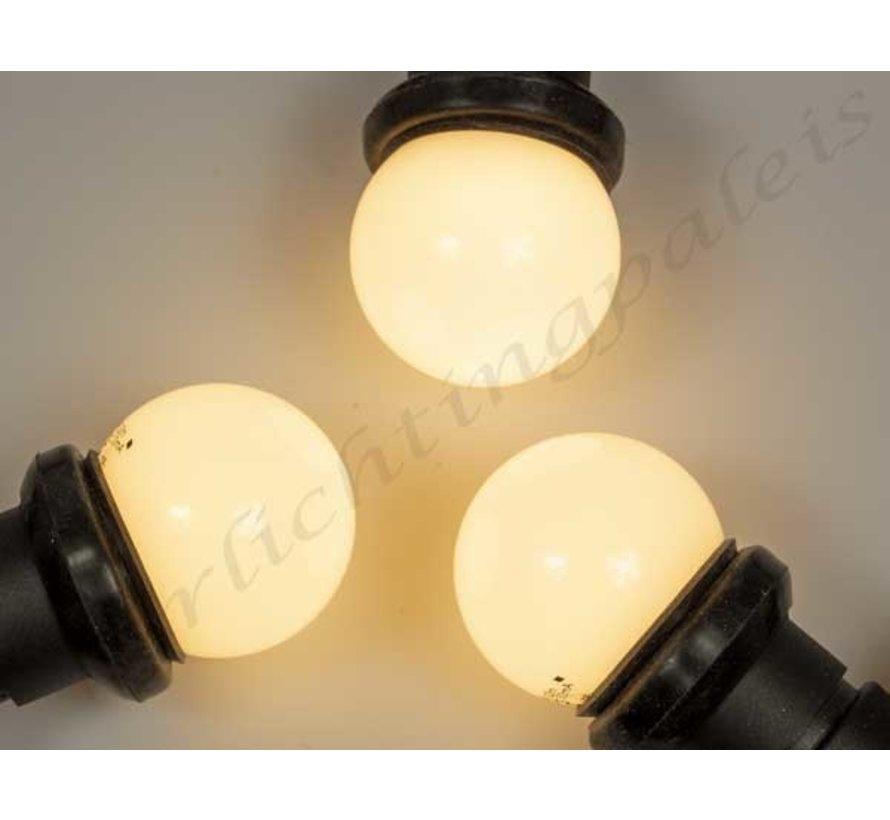 prikkabel set  met warm  witte LED lampen - melkwitte bol