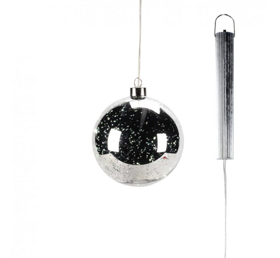 "Zilveren Glazen LED BOL - 12 cm ""Lucy"""