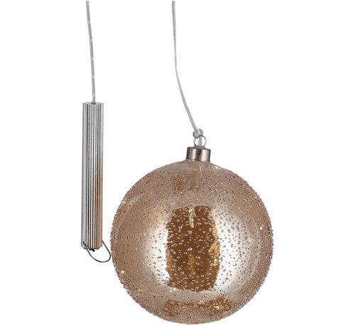 "Gouden Glazen LED BOL - 15 cm ""Snow"""