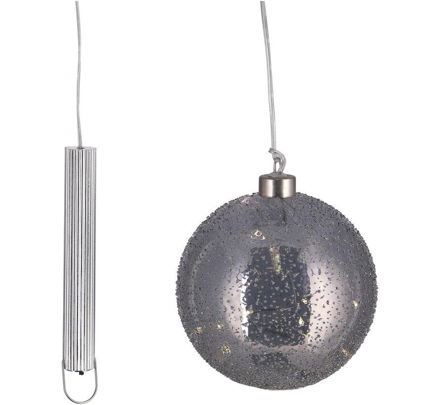 "Grijze Glazen LED BOL - 15 cm ""Snow"""