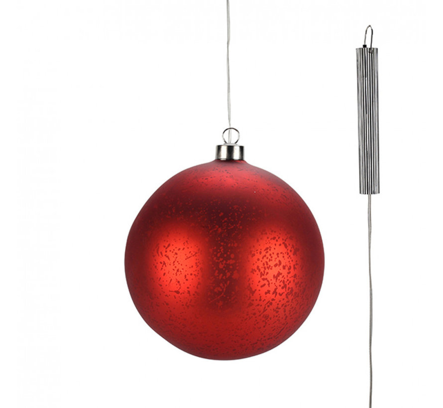 "Rode Glazen LED BOL - 15 cm ""Lucy"" - 2xAA"
